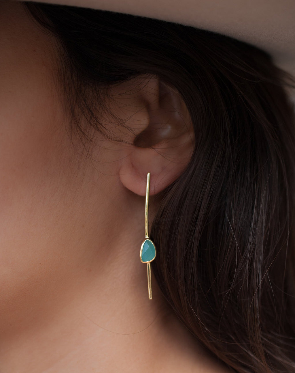 Mirella Earrings * Aqua Chalcedony * Gold Plated 18k * BJE110