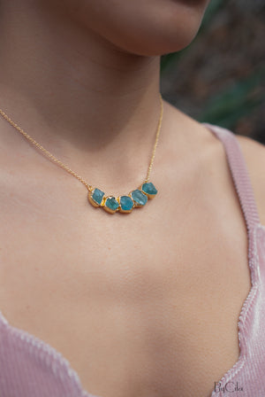 Rough Aqua Chalcedony Necklace *  18k Gold Plated * Handmade * Layered * Gemstone * Elegant * Chic * BJN031