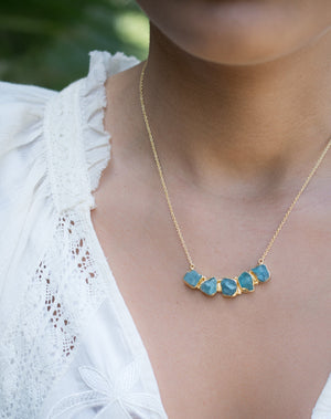 Elisa necklace * Rough Aqua Chalcedony  * Gold Plated 18k * BJN031