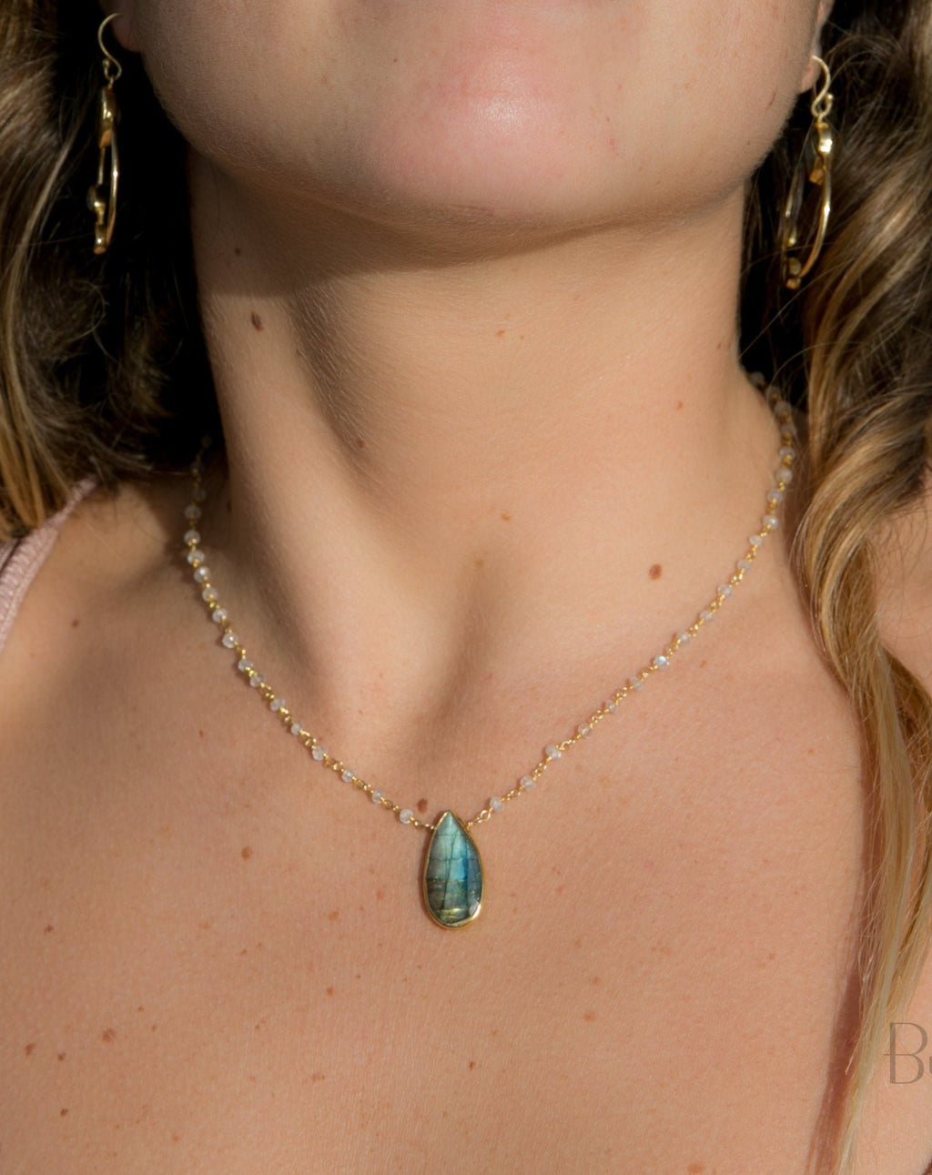Luana Necklace * Labradorite & Moonstone * Gold Vermeil * BJN070