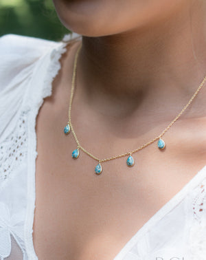 Ava Necklace * Copper Turquoise * Gold Plated 18k * BJN040