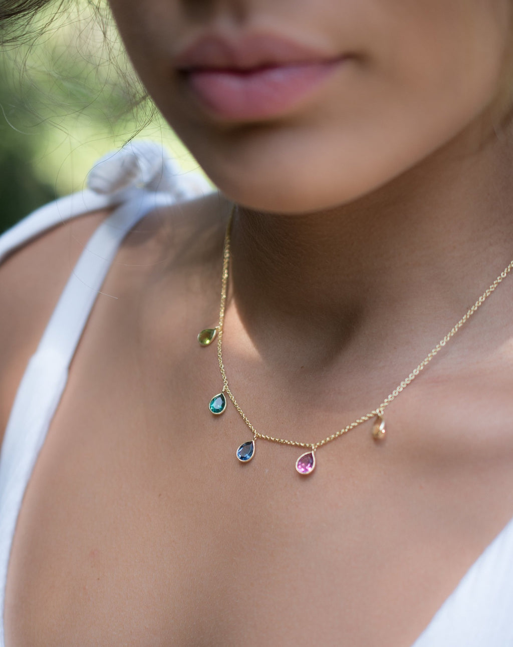 Ava Necklace * Citrine/ Pink and green tourmaline hydro/ Iolite hydro * Gold Plated 18k * BJN041