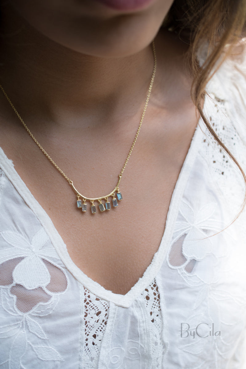 Moonstone or Labradorite Necklace  *Gold Vermeil *Handmade * Bohemian * Layered * Modern * Perfect Gift * BJN033
