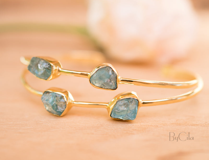 Rough Aqua Chalcedony Bangle Bracelet *Gold Plated 18k* Gemstone * Gypsy * Hippie * Adjustable * Statement * Stacking * Layering * BJB029