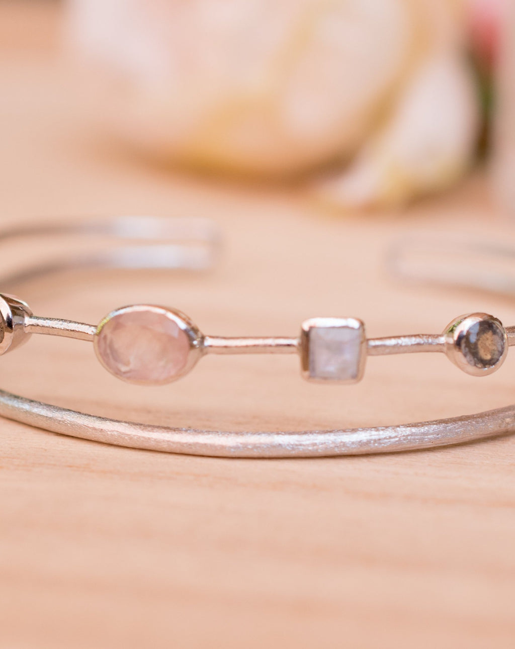 Moonstone, Labradorite & Rose Quartz * Bangle Bracelet * Gold Plated and Silver Plated * Gemstone * Adjustable *Statement * BJB032A