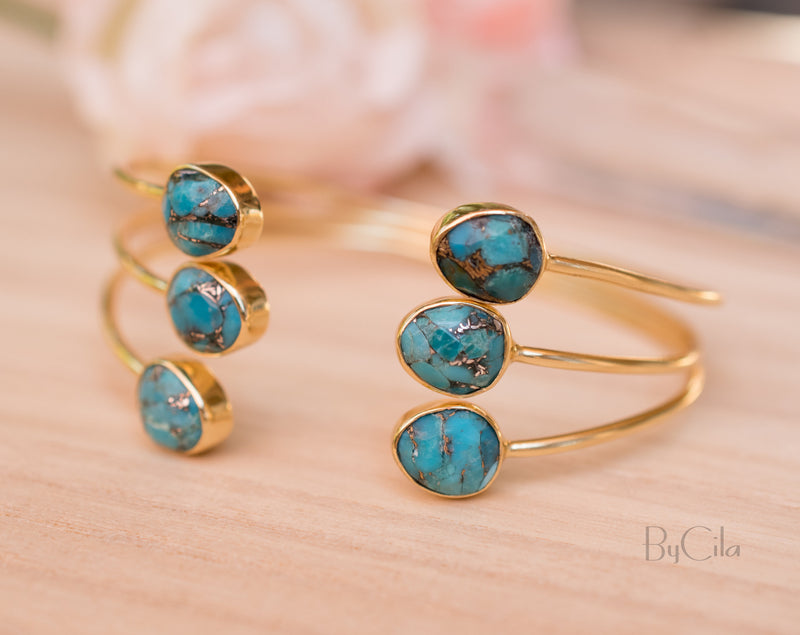 Copper Turquoise Bangle Bracelet * Gold Plated * Gemstone * Adjustable * Statement * Stacking * Layering* BJB025