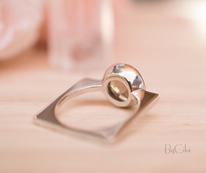 Smoky quartz Square Ring *  Silver Plated * Statement Ring *Gemstone Ring *Bridal Ring *Organic Ring *Natural * BJR167