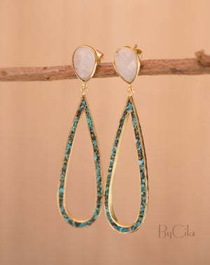 Emanuelly Earrings * Moonstone and Copper Turquoise * Gold Plated 18K * BJE118