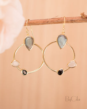 Lavinia Earrings * Labradorite, Black Onyx & Moonstone * Gold Plated 18k * BJE122