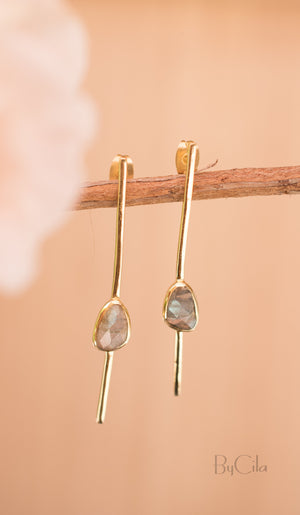 Labradorite Stud Earrings Gold Plated * Gemstone * Earrings * bridal earrings *  Handmade * Boho * Modern * Post *bycilajewelry * BJE111
