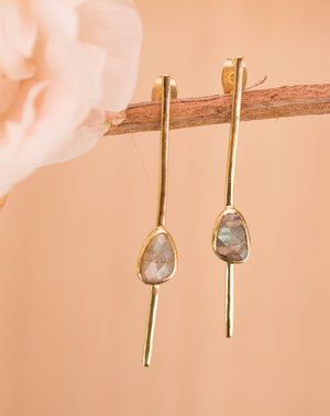 Mirella Earrings * Labradorite * Gold Plated 18k * BJE111