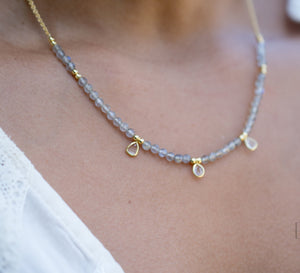 Fernanda Necklace * Labradorite and Clear Quartz or Labradorite and synthetic Sapphire *Gold Vermeil * BJN035