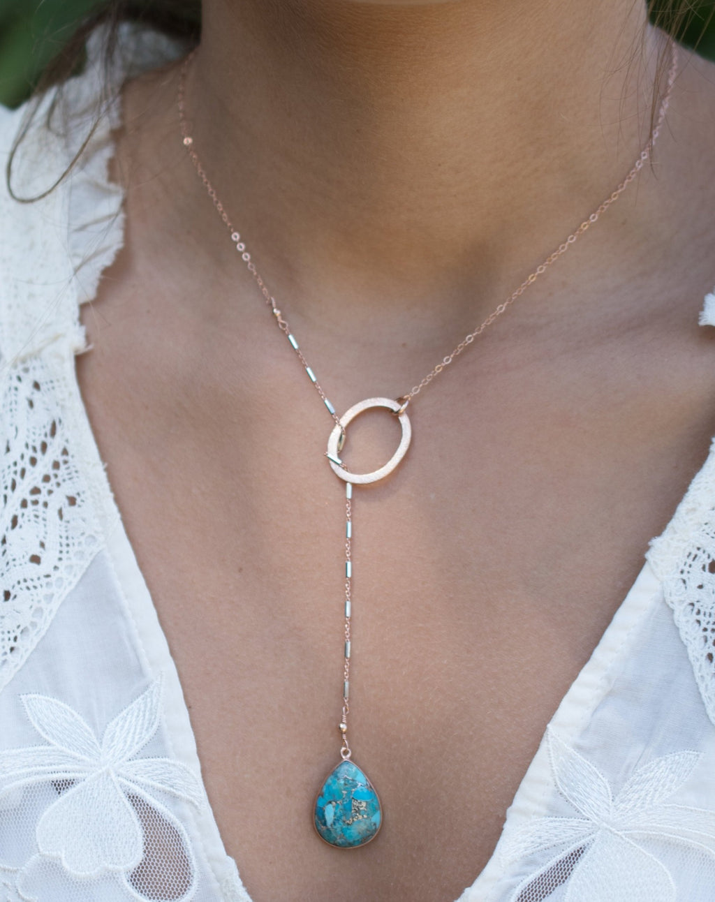 Isabel Lariat Necklace * Copper Turquoise* Rose Gold Filled, Gold Filled or Sterling Silver * BJN060