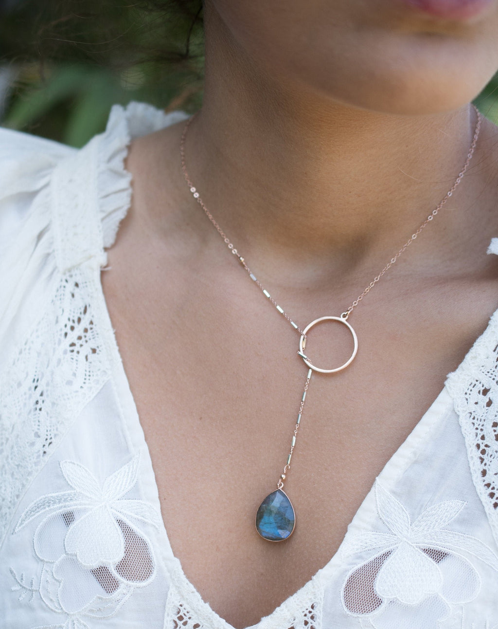 Isabel Lariat Necklace * Labradorite * Rose Gold Filled, Gold Filled or Sterling Silver * BJN061