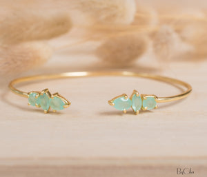 Aqua Chalcedony Bohemian Bangle Bracelet * Gold Plated * Gemstone * Gypsy * Adjustable * Statement * Stacking * Layering *BJB037