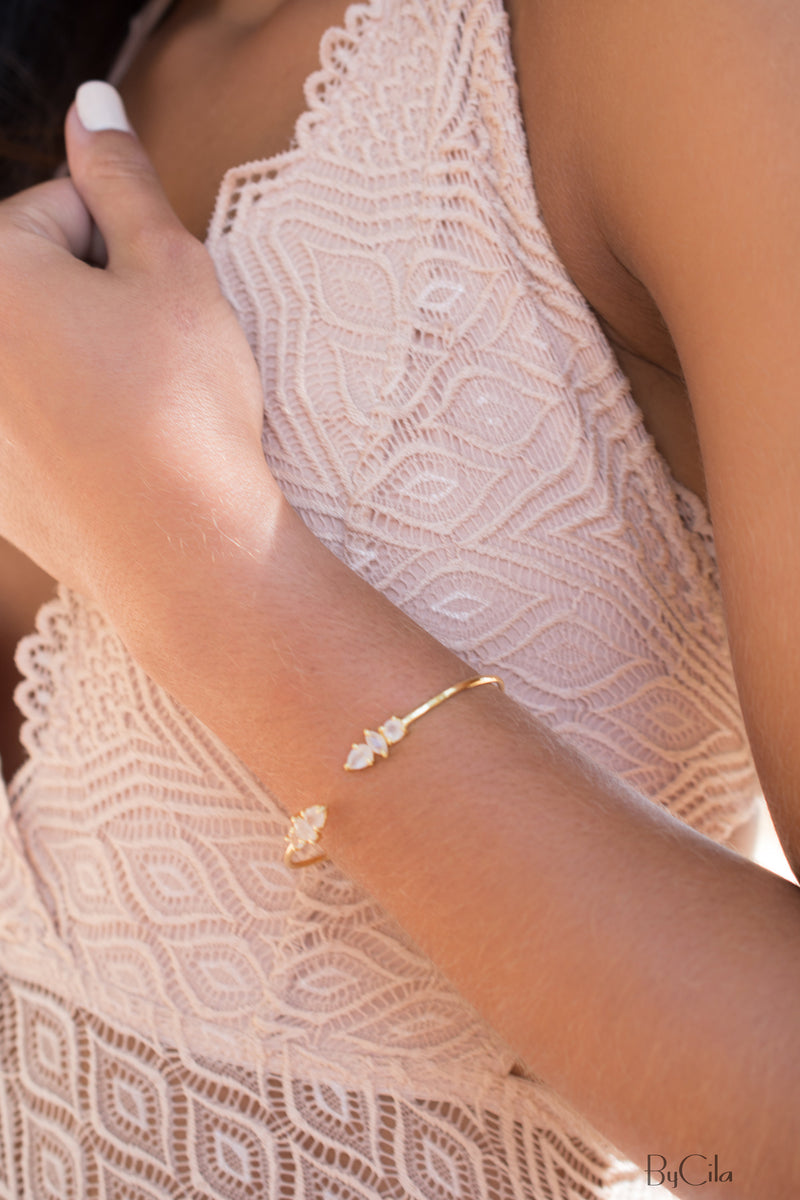 Rose Quartz Bangle Bracelet * Gold Plated * Gemstone * Gypsy * Hippie * Adjustable * Statement *  Stacking * Layering *BJB036