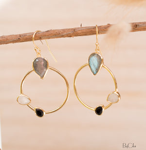 Labradorite, Black Onyx & Moonstone  Dangle  Earrings Gold Plated * Gemstone * Earrings * ByCila* Handmade * Boho * Modern * Dangle * BJE122