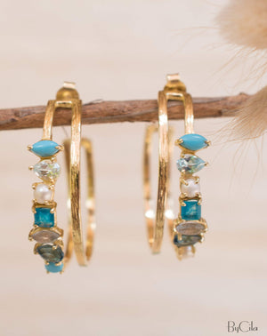 Stella Earrings * Turquoise, Blue Topaz, Pearl, Green White Jade, Labradorite & Iolite hydro * Gold Plated 18k * BJE105