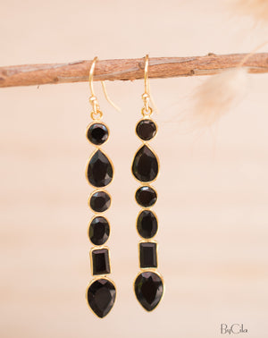 Black Onyx Gold Long Gold Earrings * Gold Plated 18K* Gemstone * Earrings * Handmade * Boho * Dangle * Modern * BJE126