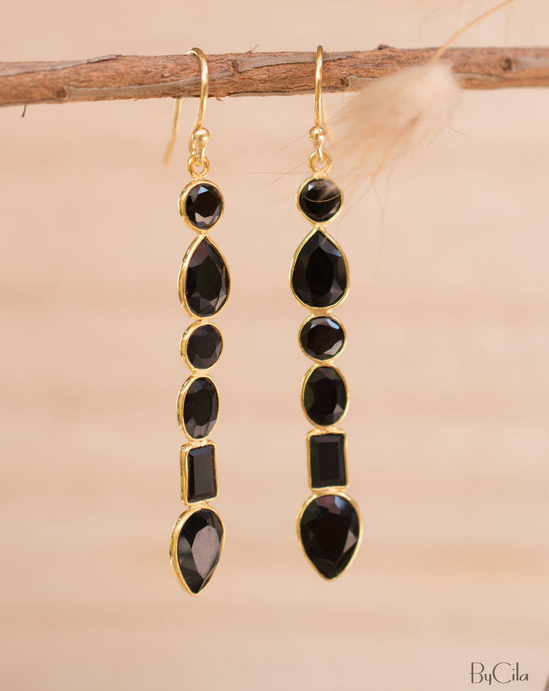 Clarice Earrings * Black Onyx * Gold Plated 18K * BJE126