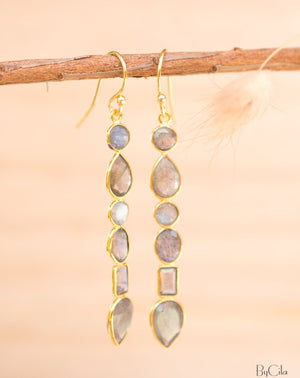 Clarice Earrings * Labradorite * Gold Plated 18K * BJE125