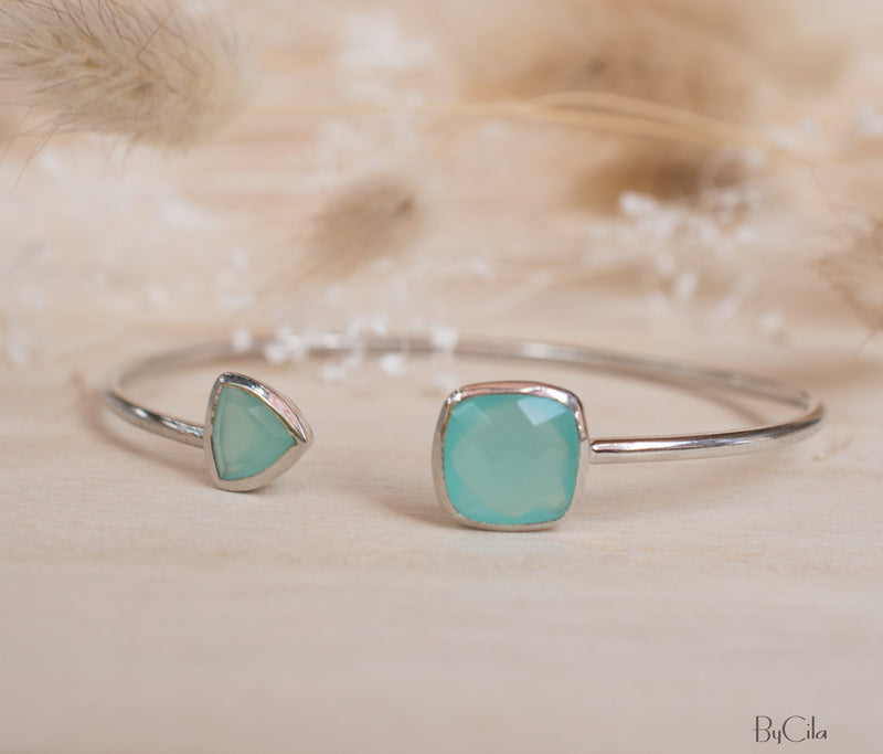 Aqua Chalcedony Bohemian Bangle Bracelet * Gold Plated 18k or Silver Plated *Gemstone * Gypsy * Adjustable * Statement * Stacking *BJB001F