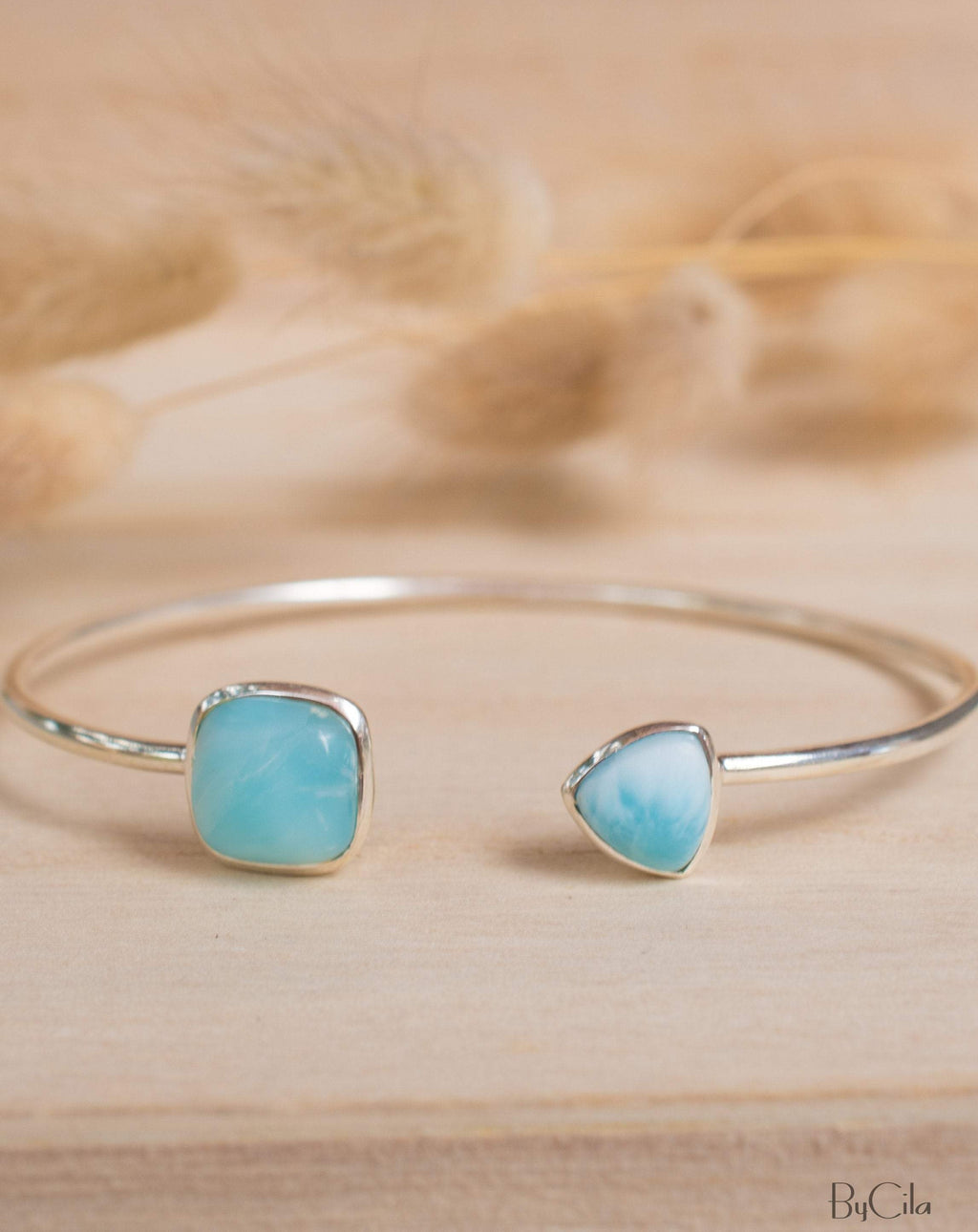 Larimar Bohemian Bangle Bracelet * Gold Plated 18k or Silver Plated * Gemstone * Gypsy * Hippie * Adjustable * Statement * Stacking *BJB005B