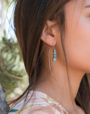 Aja Earrings * Copper Turquoise * Sterling Silver, Rose Gold or Gold Vermei * BJE042B
