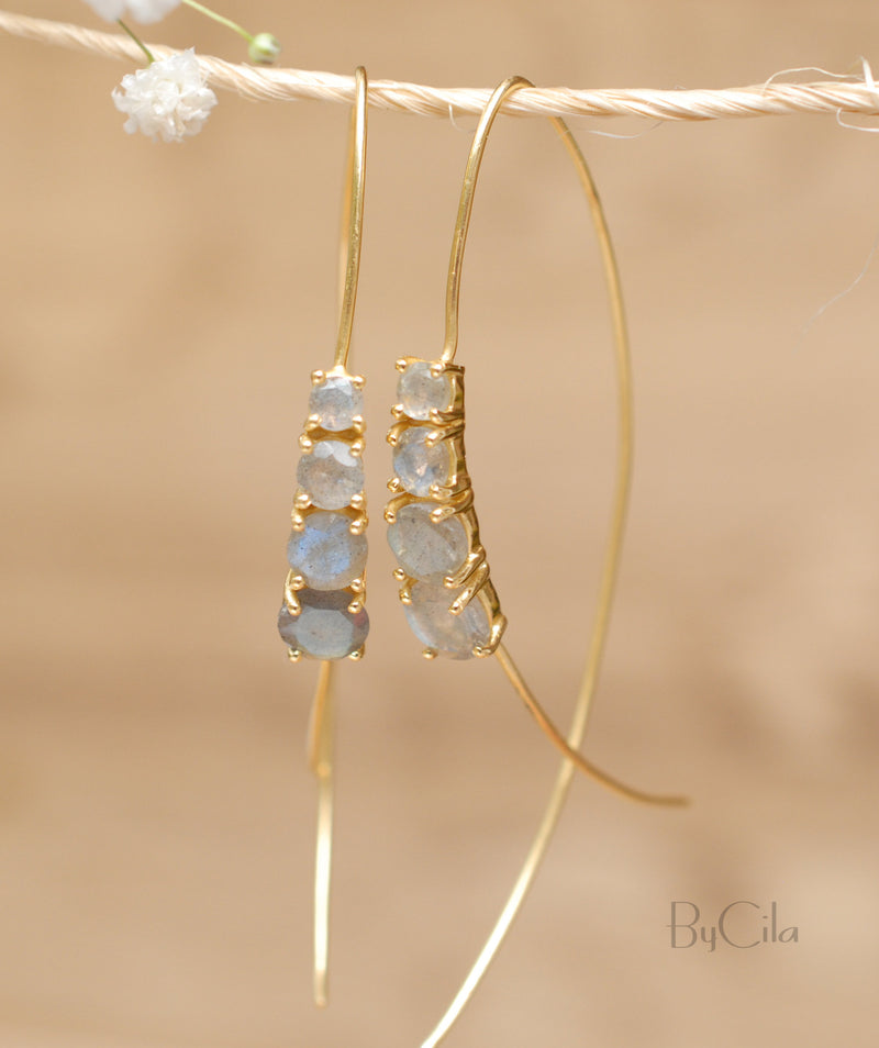 Labradorite Rose Gold, Gold Vermeil or Sterling Silver 925 Threader Earrings * Gemstone * Earrings * Labradorite * Handmade * Boho * BJE044B