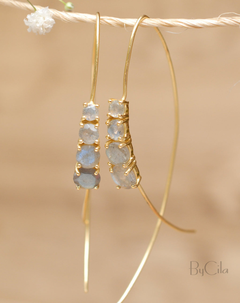 Aja Earrings * Labradorite * Rose Gold, Gold Vermeil or Sterling Silver 925 * BJE044A