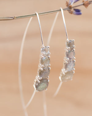Aja Earrings * Labradorite * Rose Gold, Gold Vermeil or Sterling Silver 925 * BJE044C