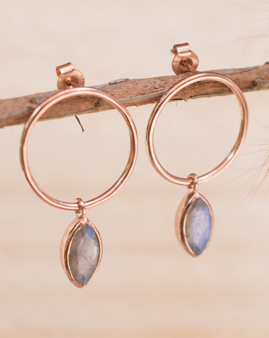 Agatha Earrings * Labradorite * Rose Gold Plated or Gold Plated * BJE079C