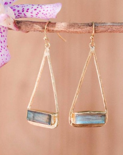 Marina Earrings * Labradorite * Gold Plated 18k or Silver Plated * BJE003C