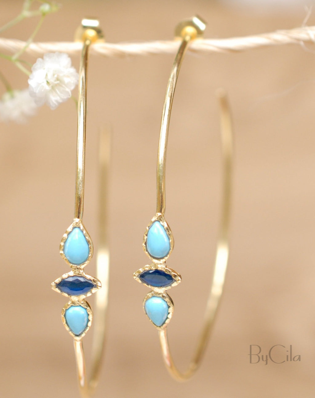 Yeda Hoop Earrings * Turquoise & Sapphire * Gold Plated 18k or Silver Plated * BJE018A