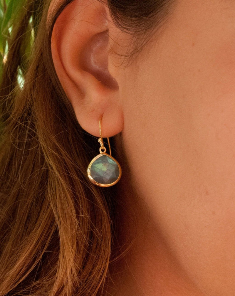 Lihue Earrings * Labradorite * Gold Plated 18k or Sterling Silver 925 * BJE062A