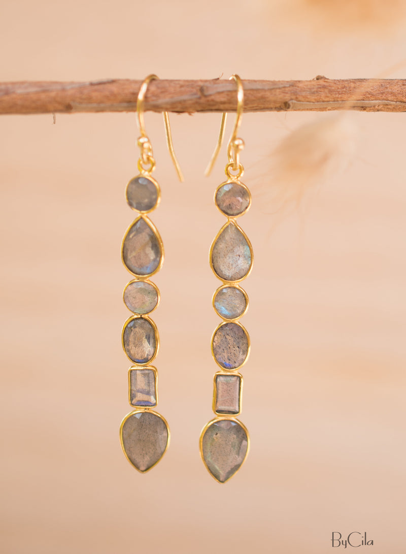 Labradorite Gold Long Earrings * Gold Plated 18K* Gemstone * Earrings * Handmade * Boho * Dangle * Modern BJE125
