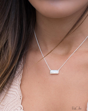 Clara Rectangle Necklace * Moonstone * Gold Vermeil or Sterling Silver * BJN027B
