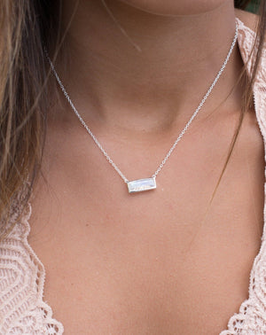 Clara Rectangle Necklace * Moonstone * Gold Vermeil or Sterling Silver 925 * BJN027A