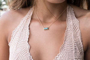Copper Turquoise Rectangle Bar Necklace * Gold Vermeil or Sterling Silver 925 * Handmade * Layered * Gemstone *Gift for Her*Elegant *BJN030A