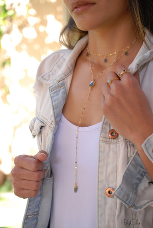 Moonstone or Labradorite Long Y Necklace * Birthstone *Handmade * Boho * Bridesmaid Gift * Everyday * Gift for her * Layered and long BJN047