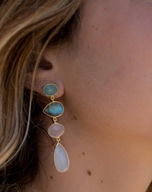 Bela Liz Earrings * Aqua Chalcedony, Labradorite, Rose Quartz & Moonstone * Gold Plated 18k * BJE090