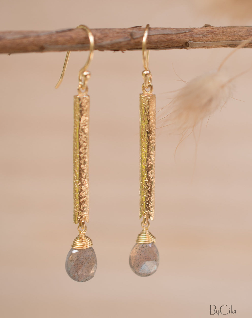 Catarina Earrings * Labradorite* Gold Plated 18k * BJE132