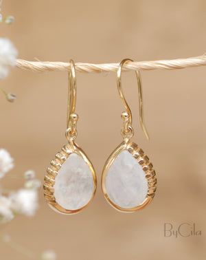 Skye Earrings * Moonstone * Gold Plated 18k * BJE012
