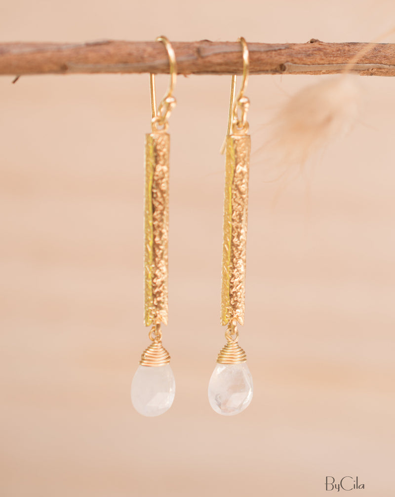 Moonstone Earrings Dangle Gold Plated 18k* Gemstone * Statement  * handmade * Every day * Lightweight * bohemian * BJE133
