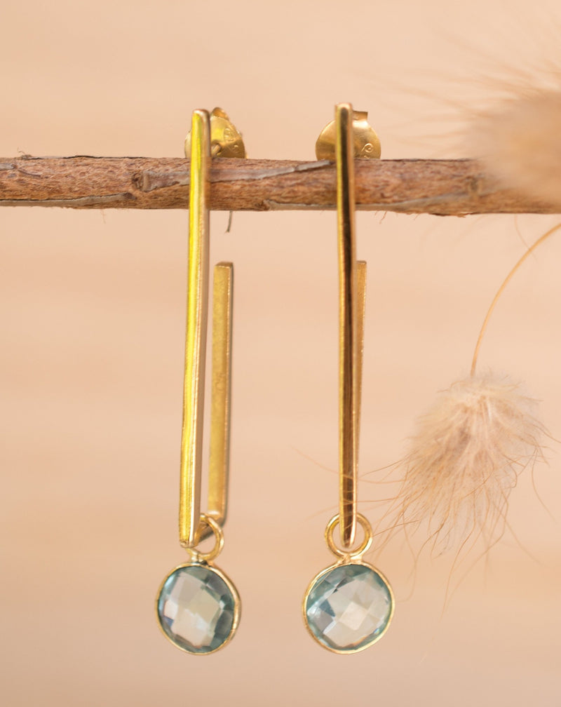 Lorena Earrings * Blue Topaz * Gold Plated 18k * BJE139