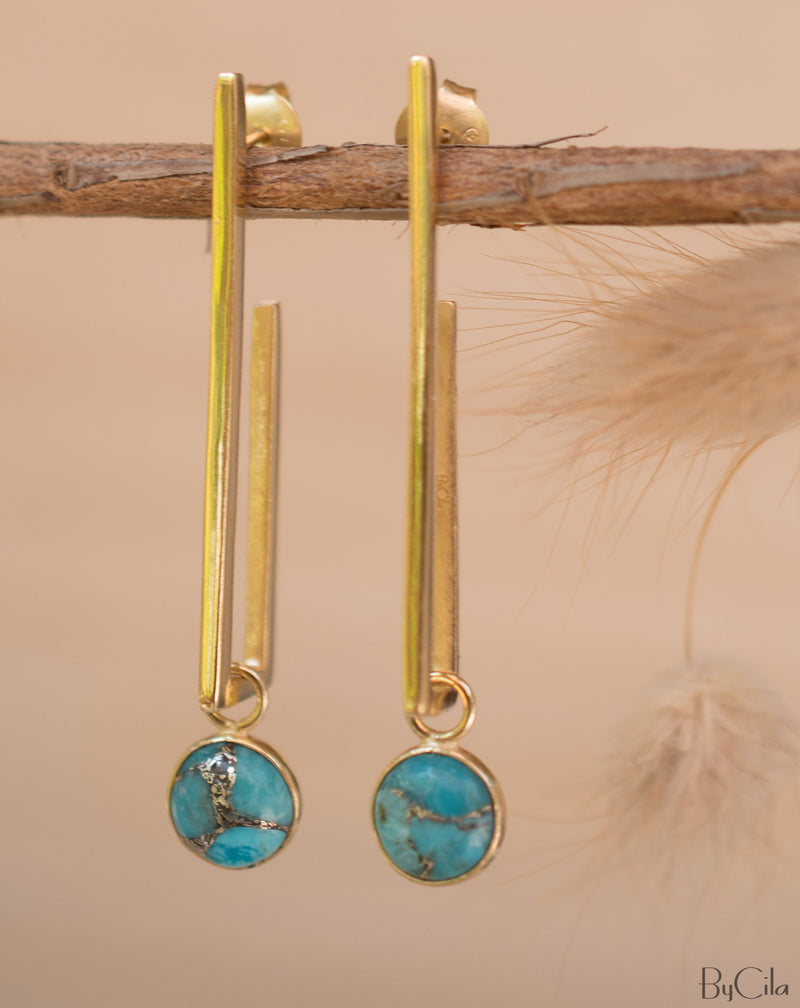 Lorena Earrings * Copper Turquoise * Gold Plated 18k * BJE142