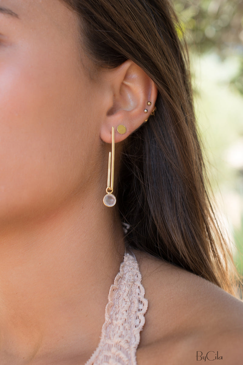 Rose Quartz Earrings Stud Gold Plated 18k * Post * Gemstone * Statement * Every day * handmade* Lightweight * bohemian * ByCila * BJE141