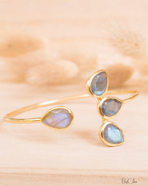 Labradorite Bangle Bracelet * Gold Plated, Rose Gold Plated 18k or Silver Plated* Gemstone * Lotus Flower *  Adjustable * Stacking*BJB021C