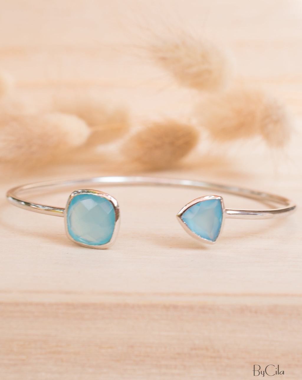 Blue Chalcedony Bangle Bracelet *Gold Plated 18k or Silver Plated* Gemstone * Gypsy * Adjustable * Statement * Stacking * Layering * BJB009B