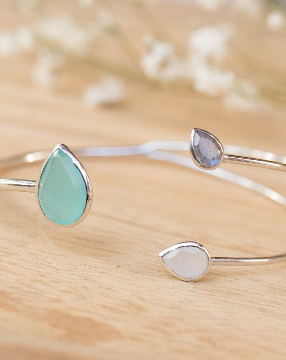 Aqua Chalcedony,Labradorite & Moonstone Bangle Bracelet * Gold Plated or Silver Plated* Gemstone * Adjustable * Stacking *Layering BJB023B